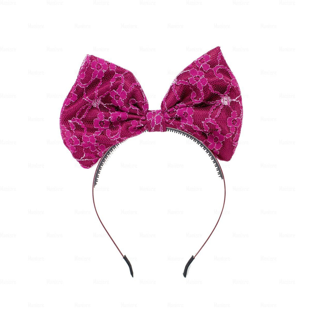 Load image into Gallery viewer, Lace-Pop-Up-Bow-Headband Headband Manière Maroon