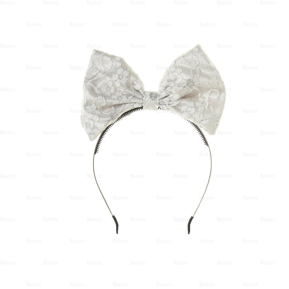 Lace-Pop-Up-Bow-Headband Headband Manière Silver