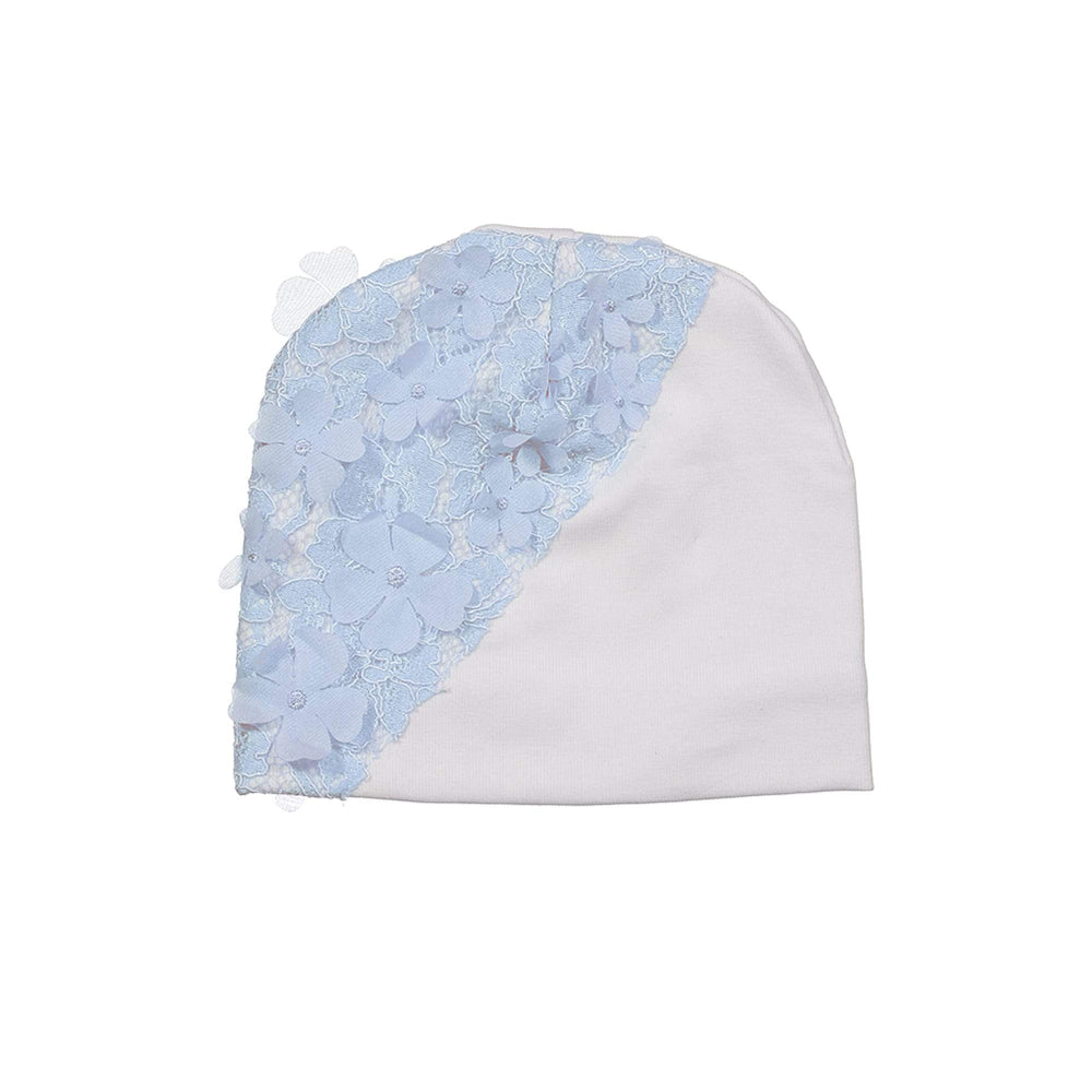 Lace Yoke Beanie (no pom) Maniere Accessories Blue XS