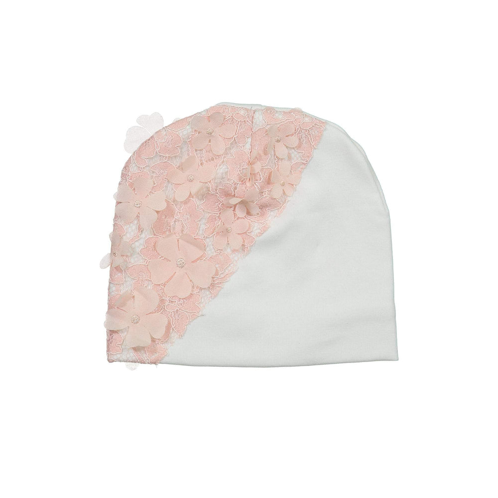 Lace Yoke Beanie (no pom) Maniere Accessories White XS
