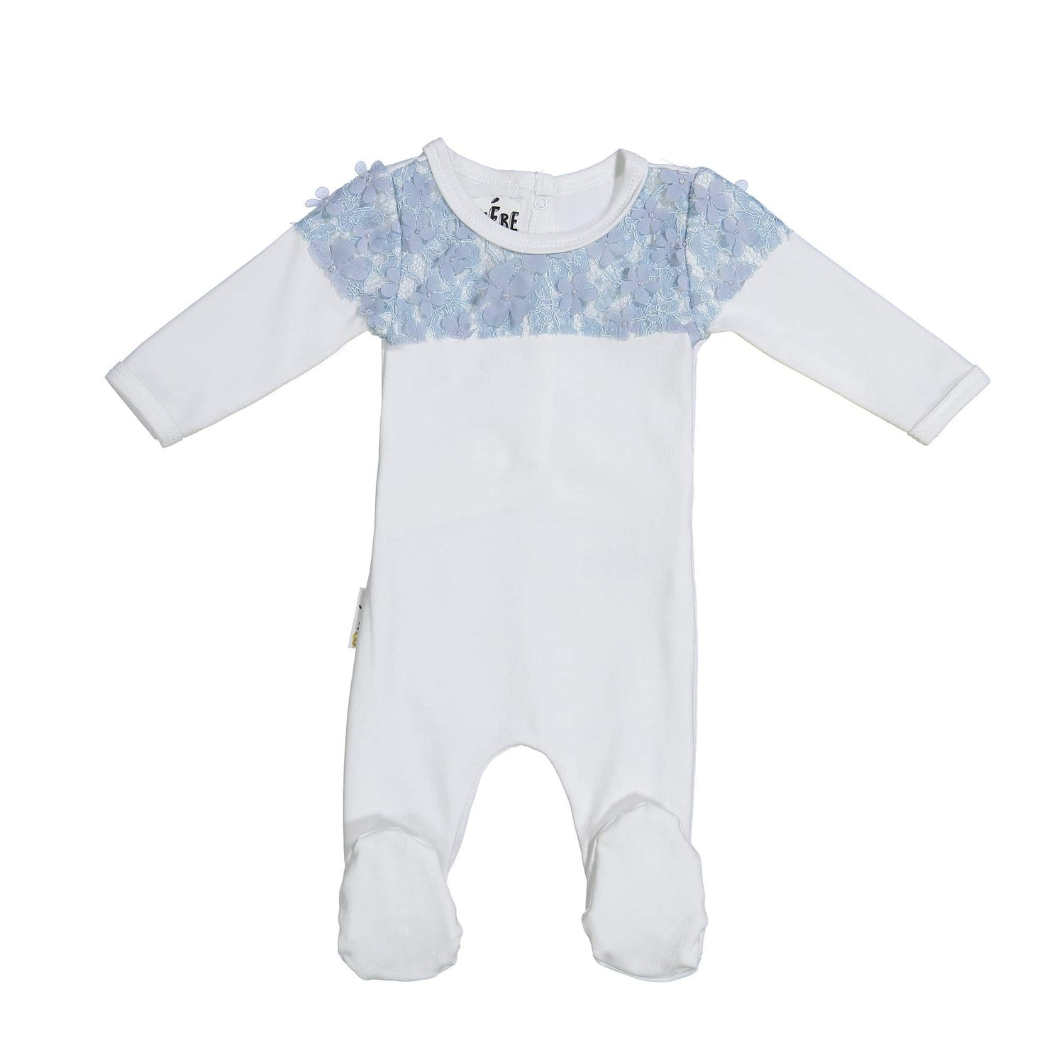 Lace Yoke Footie Maniere Accessories Blue 3 Month
