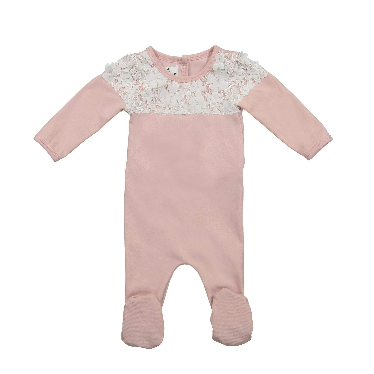 Lace Yoke Footie Maniere Accessories Mauve 3 Month