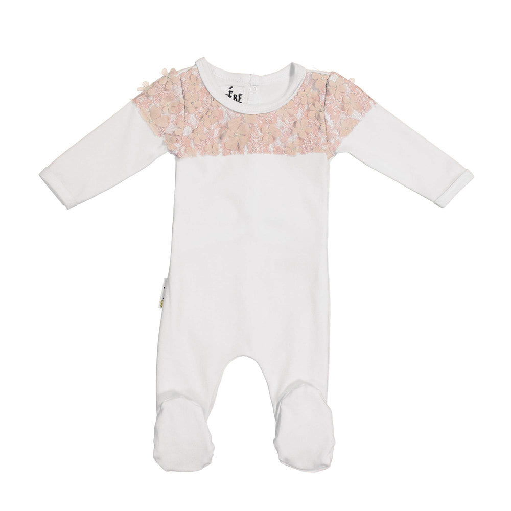 Lace Yoke Footie Maniere Accessories White 3 Month