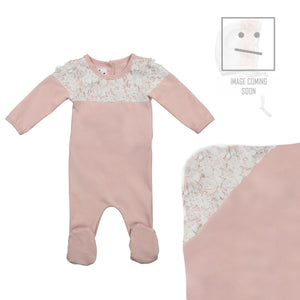 Lace Yoke Footie Set Maniere Accessories Mauve 3 Month