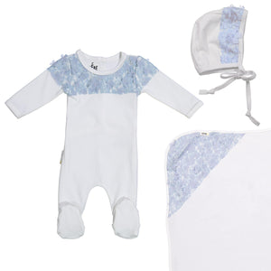 Lace Yoke Footie Set Maniere Accessories Blue 3 Month