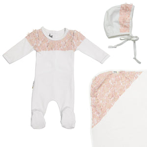 Lace Yoke Footie Set Maniere Accessories White 3 Month