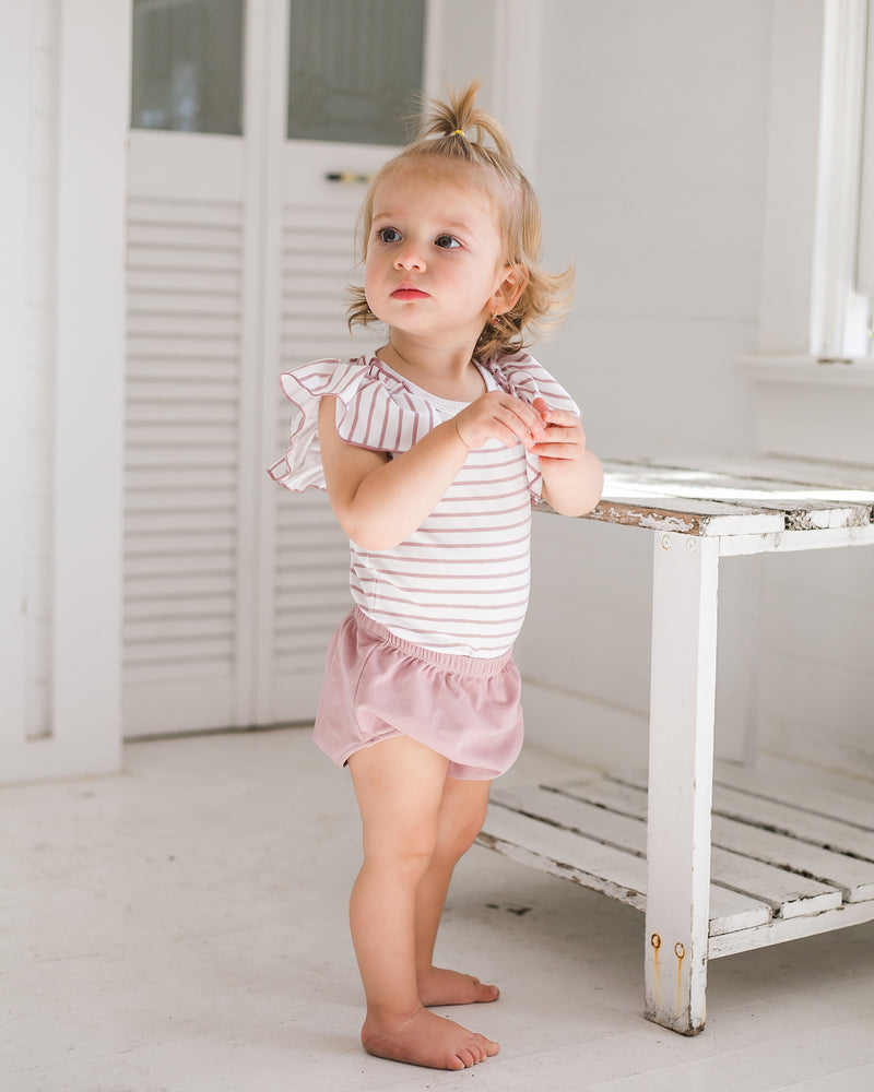 Ruffle Sleeve Striped Top with Bloomer
