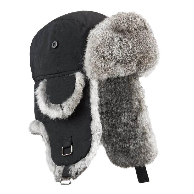 Boys Aviator Style Hat with Rabbit Fur Premium Fur Manière Black Hat Silver Fur