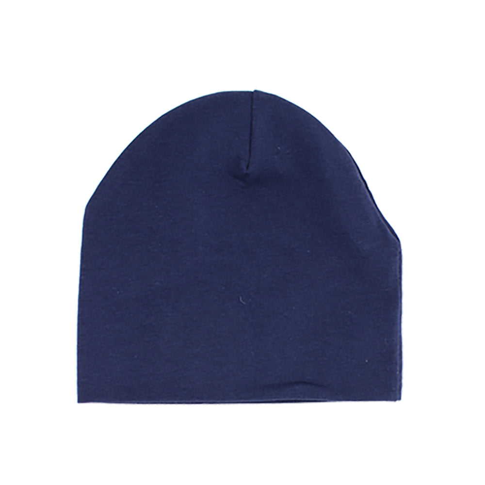 Baby Beanie with Snap On Pom Pom, Navy