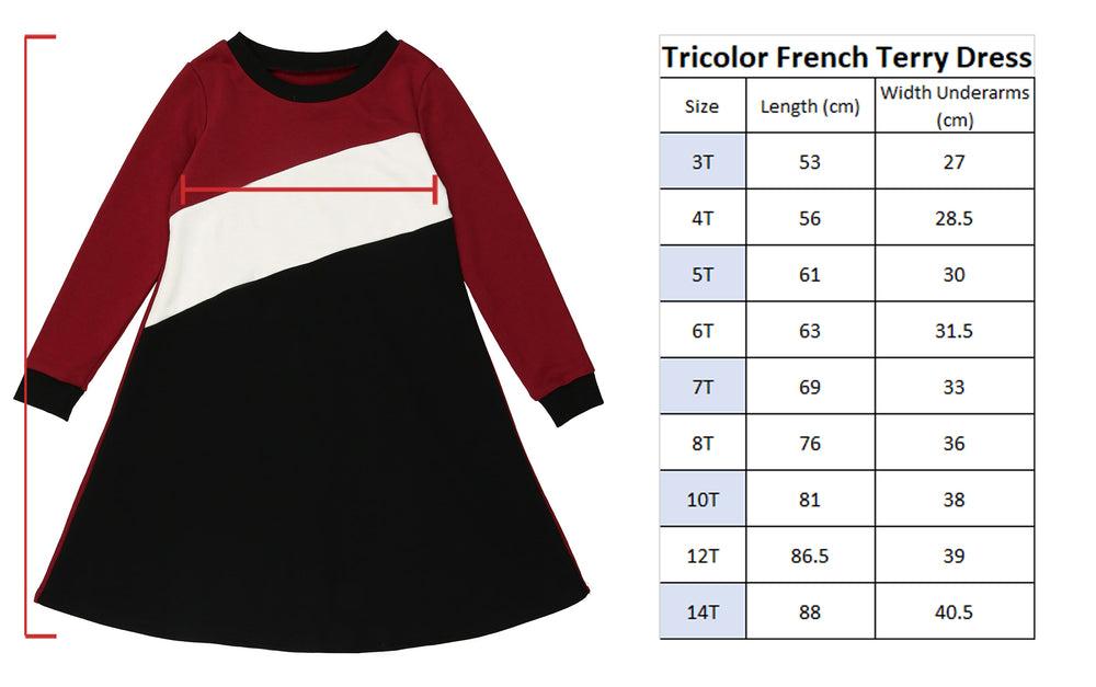 Tricolor French Terry Dress