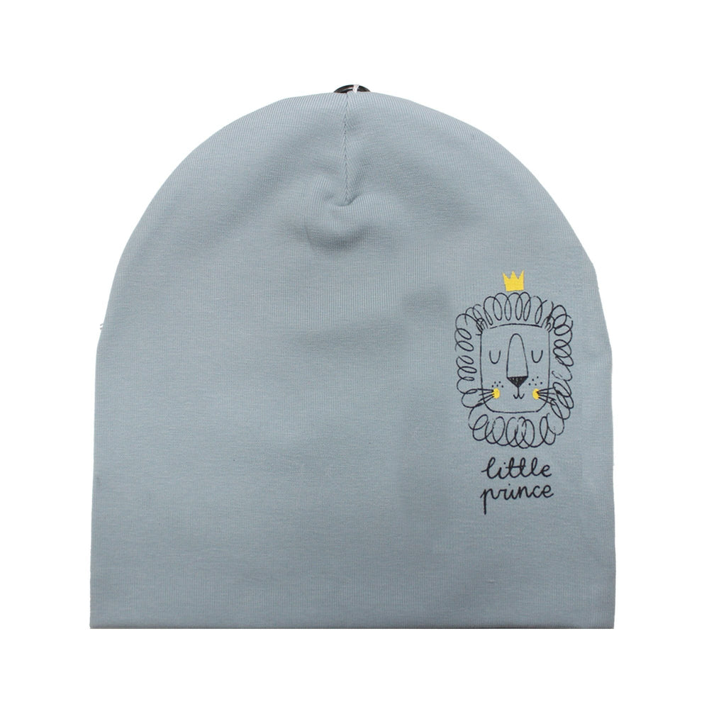 Load image into Gallery viewer, Print Cotton Beanie (with matching pom) Beanie Maniere Accessories Blue 3 Month