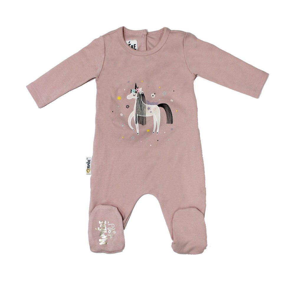Print Cotton Footie Baby Footies Maniere Accessories Mauve 3 Months
