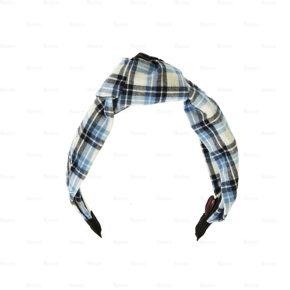 Load image into Gallery viewer, Plaid-Kay-Knot-Headband Headband Manière Blue