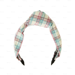 Load image into Gallery viewer, Plaid-Kay-Knot-Headband Headband Manière Baby Pink/Blue