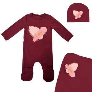 Load image into Gallery viewer, Paint Splatter Footie Set Maniere Accessories Berry 3 Month