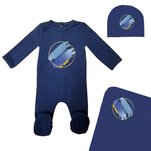 Load image into Gallery viewer, Paint Splatter Footie Set Maniere Accessories Blue 3 Month