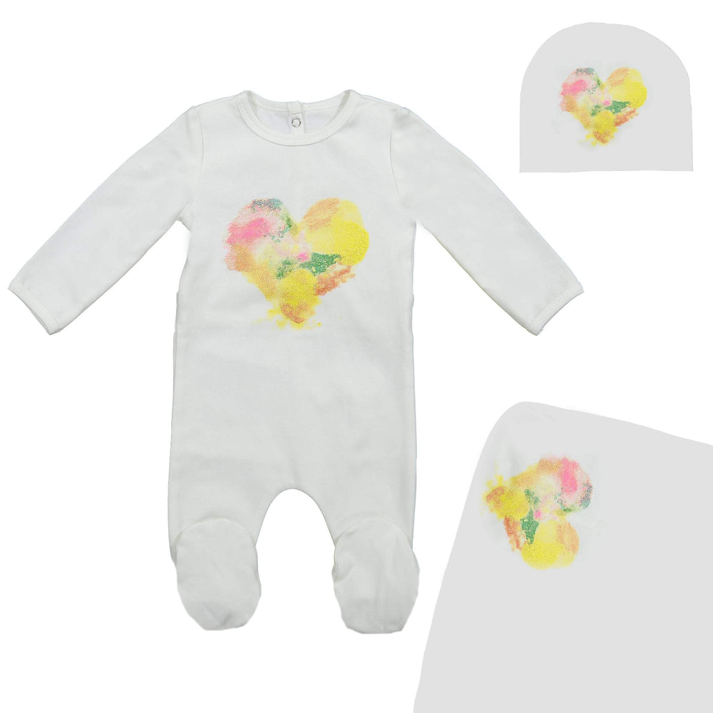 Load image into Gallery viewer, Paint Splatter Footie Set Maniere Accessories White (girl) 3 Month