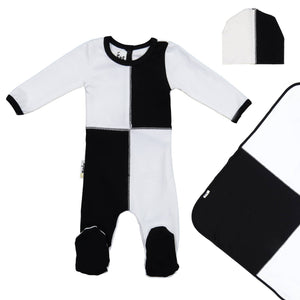 Load image into Gallery viewer, Patch Work Footie Set Maniere Accessories Black 3 Month