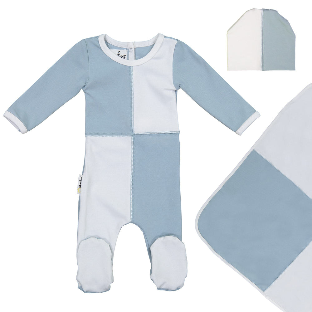 Load image into Gallery viewer, Patch Work Footie Set Maniere Accessories Blue 3 Month