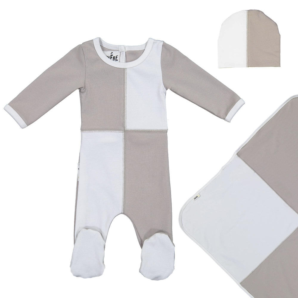Load image into Gallery viewer, Patch Work Footie Set Maniere Accessories Grey 3 Month