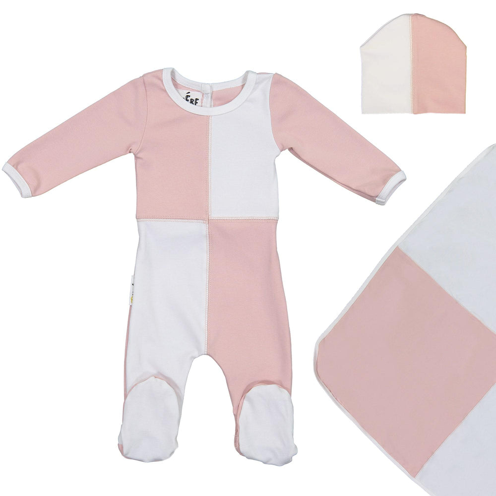 Load image into Gallery viewer, Patch Work Footie Set Maniere Accessories Mauve 3 Month