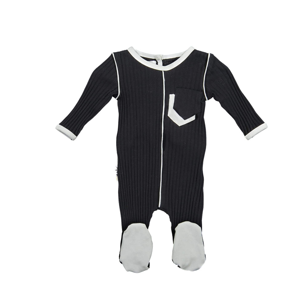 Piped Pocket Footie Maniere Accessories Black 3 Month