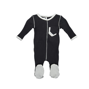 Load image into Gallery viewer, Piped Pocket Footie Maniere Accessories Black 3 Month