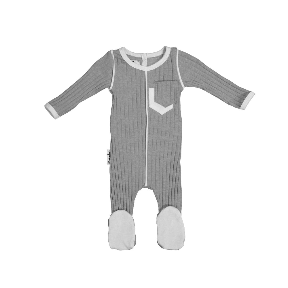 Piped Pocket Footie Maniere Accessories Grey 3 Month