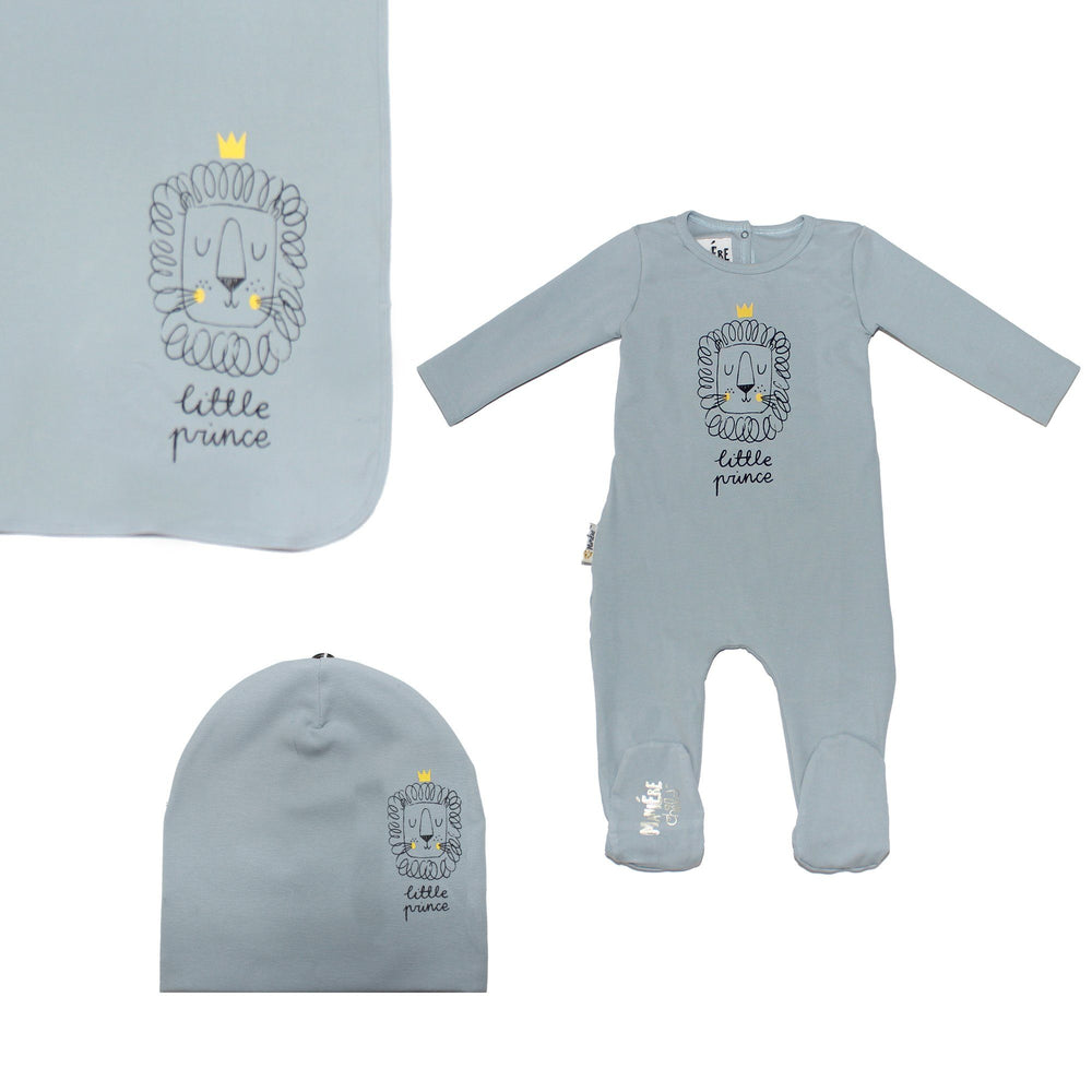 Load image into Gallery viewer, Print Cotton Footie Set (with matching pom) Baby Footies Maniere Accessories Blue 3 Month