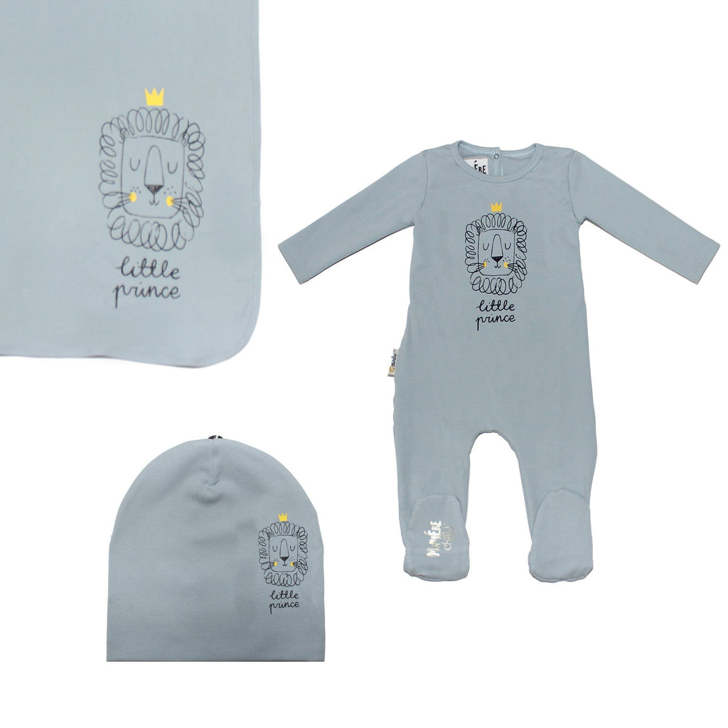 Print Cotton Footie Set (with matching pom)