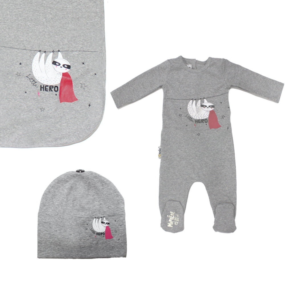 Load image into Gallery viewer, Print Cotton Footie Set (with matching pom) Baby Footies Maniere Accessories Grey 3 Month