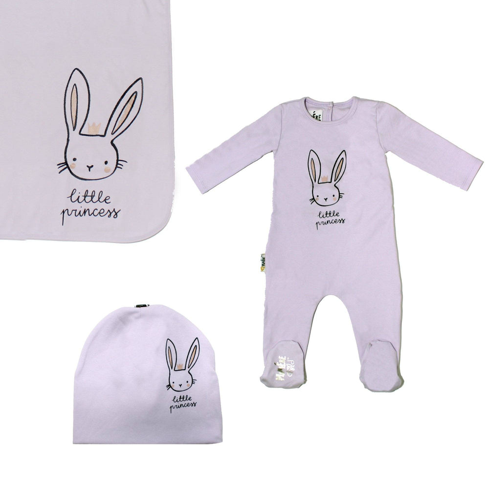 Load image into Gallery viewer, Print Cotton Footie Set (with matching pom) Baby Footies Maniere Accessories Lavender 3 Month