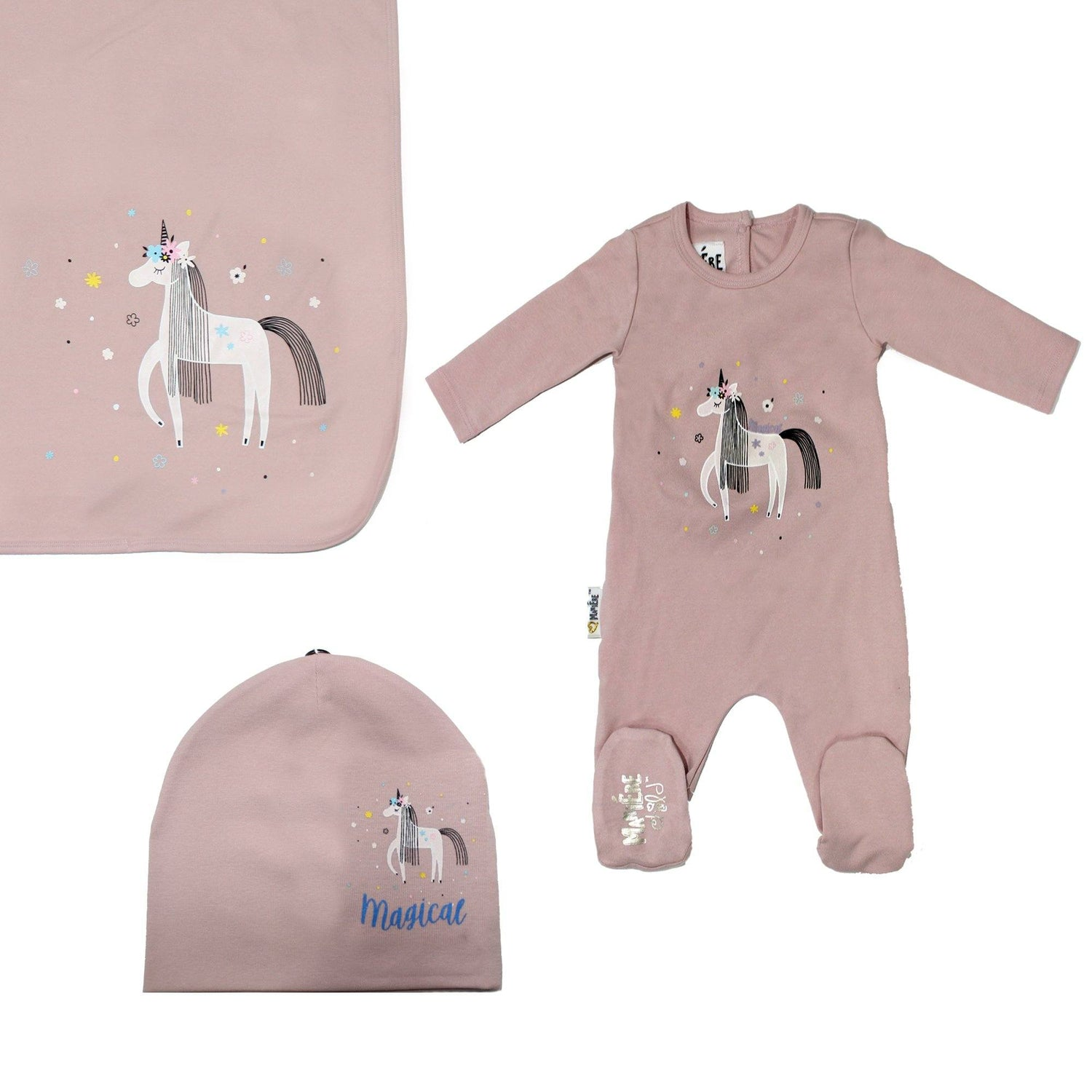 Print Cotton Footie Set (with matching pom) Baby Footies Maniere Accessories Mauve 3 Month