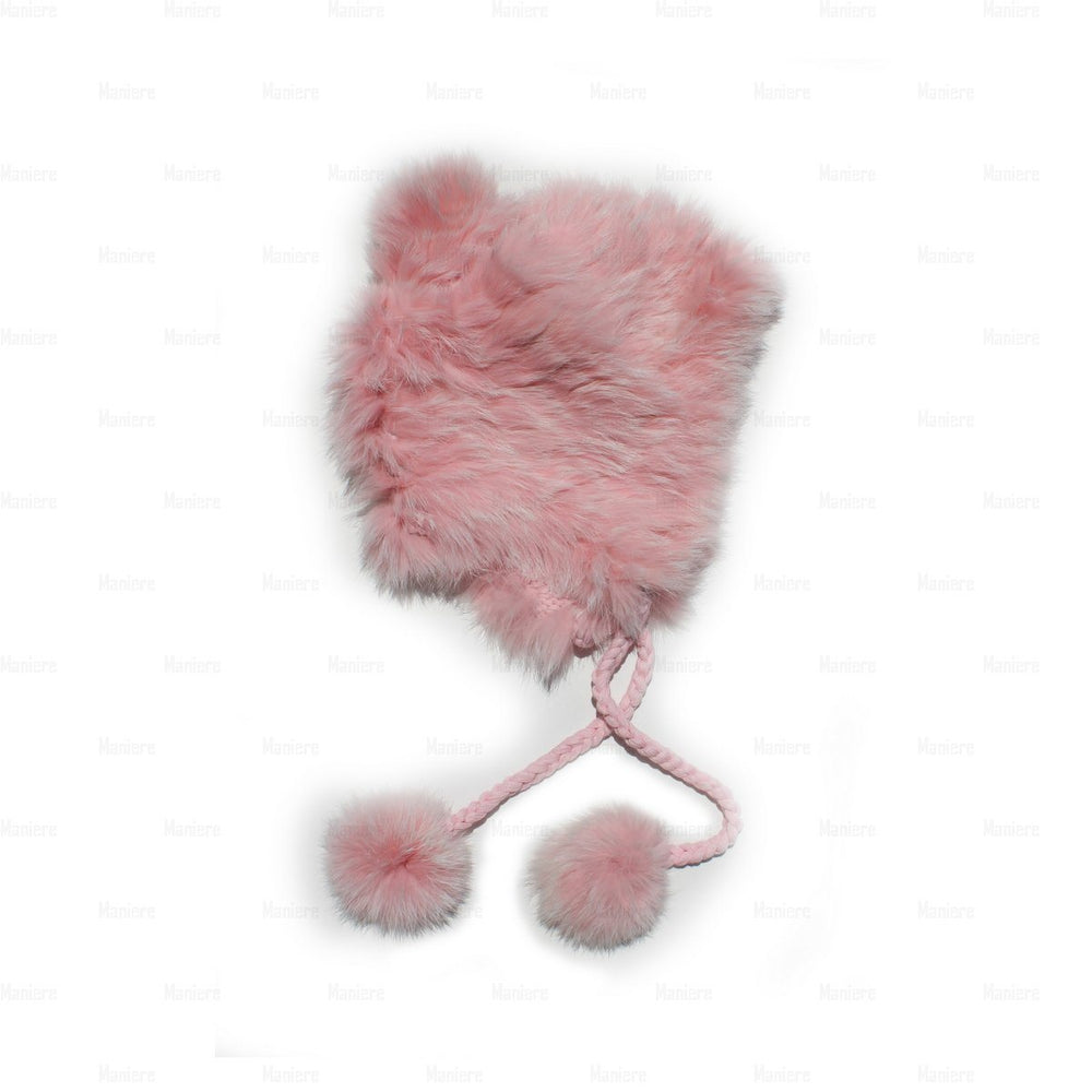 Children's-Rabbit-Fur-Hat Premium Fur Manière Pink