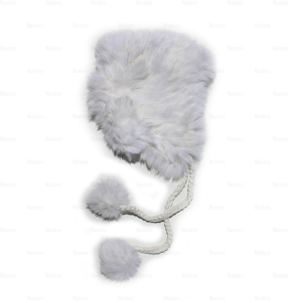 Children's-Rabbit-Fur-Hat Premium Fur Manière White