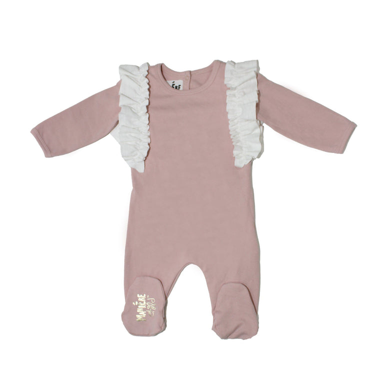 Ruffle Sleeve Footie Baby Footies Maniere Accessories Pink with White Trim 3 Month