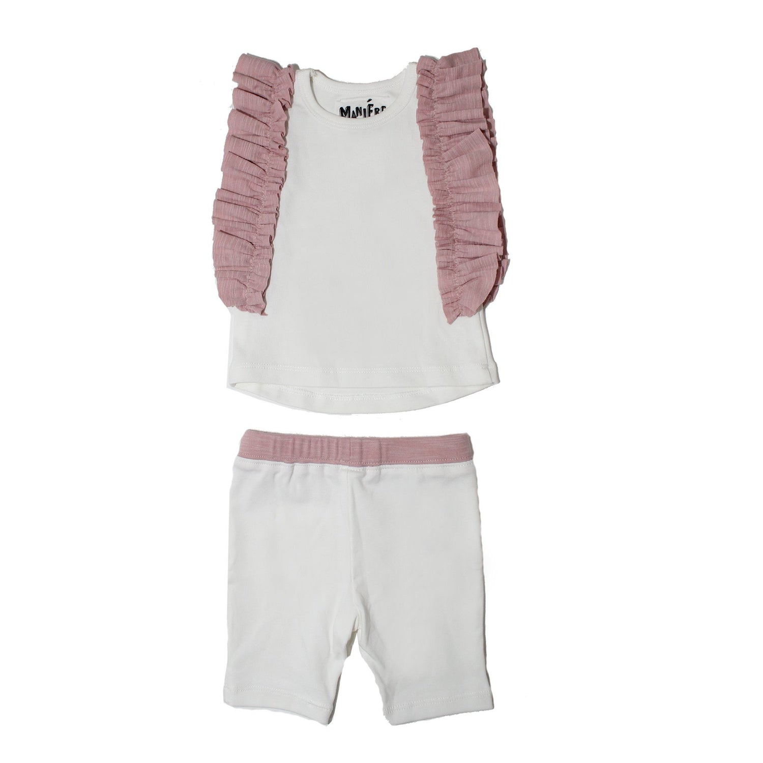 Ruffle Sleeve Set Baby Sets Maniere Accessories Ivory/Pink 3M
