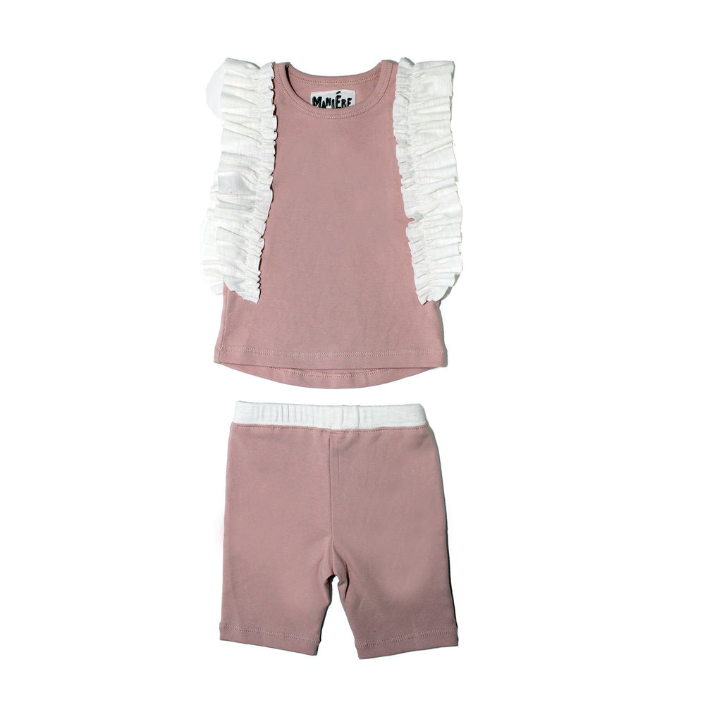 Ruffle Sleeve Set Baby Sets Maniere Accessories Pink/White 3M