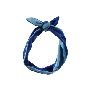 Load image into Gallery viewer, Reversible Tie Band Headwrap Manière Blue Blend