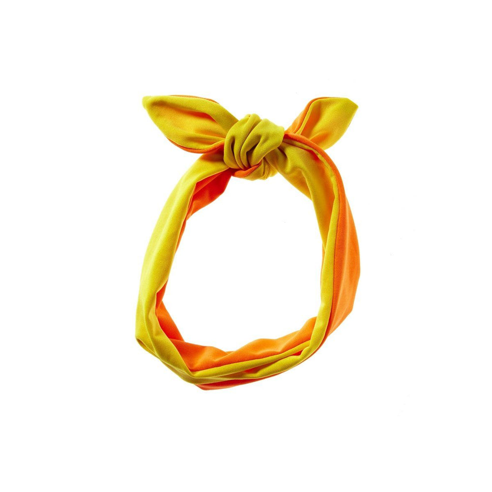 Load image into Gallery viewer, Reversible Tie Band Headwrap Manière Orange/Yellow