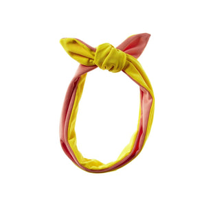 Reversible Tie Band Headwrap Manière Coral/Yellow
