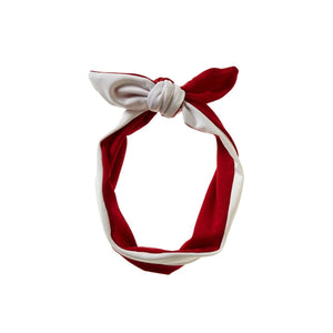 Reversible Tie Band Headwrap Manière Red/White