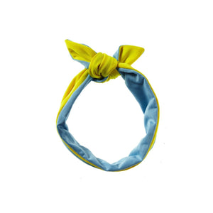 Reversible Tie Band Headwrap Manière Sky Blue/Yellow