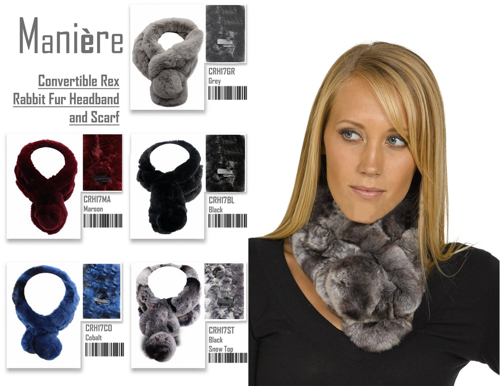 Convertible Rex Rabbit Fur Headband and Scarf Premium Fur Manière
