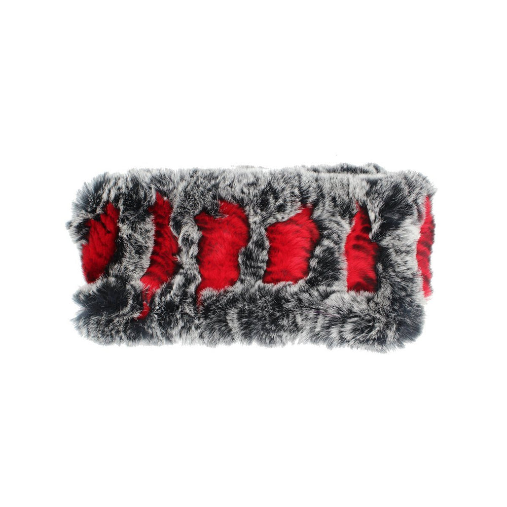 Stretch Rabbit Fur Headwrap Premium Fur Manière Red