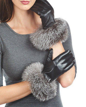 Load image into Gallery viewer, Raccoon-Fur-Leather-Glove Premium Fur Manière