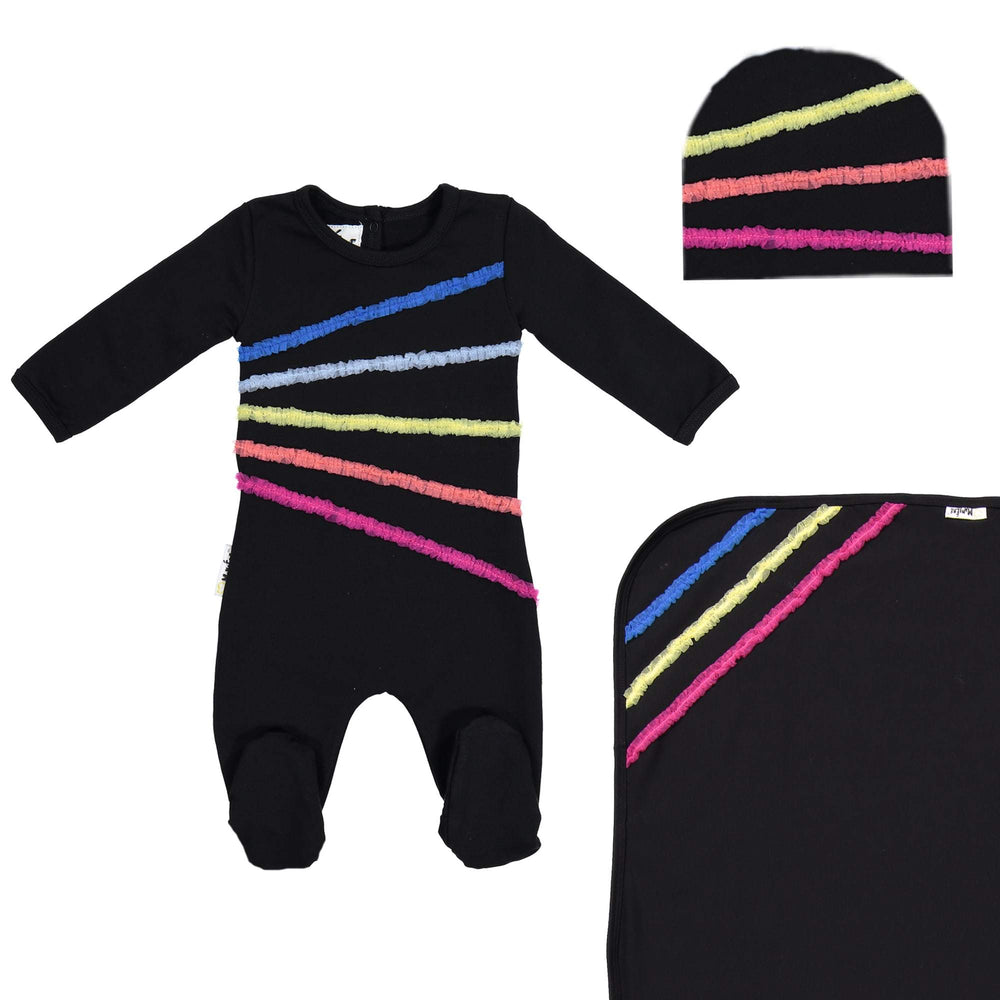 Load image into Gallery viewer, Rainbow Tulle Footie Set Maniere Accessories Black 3 Month