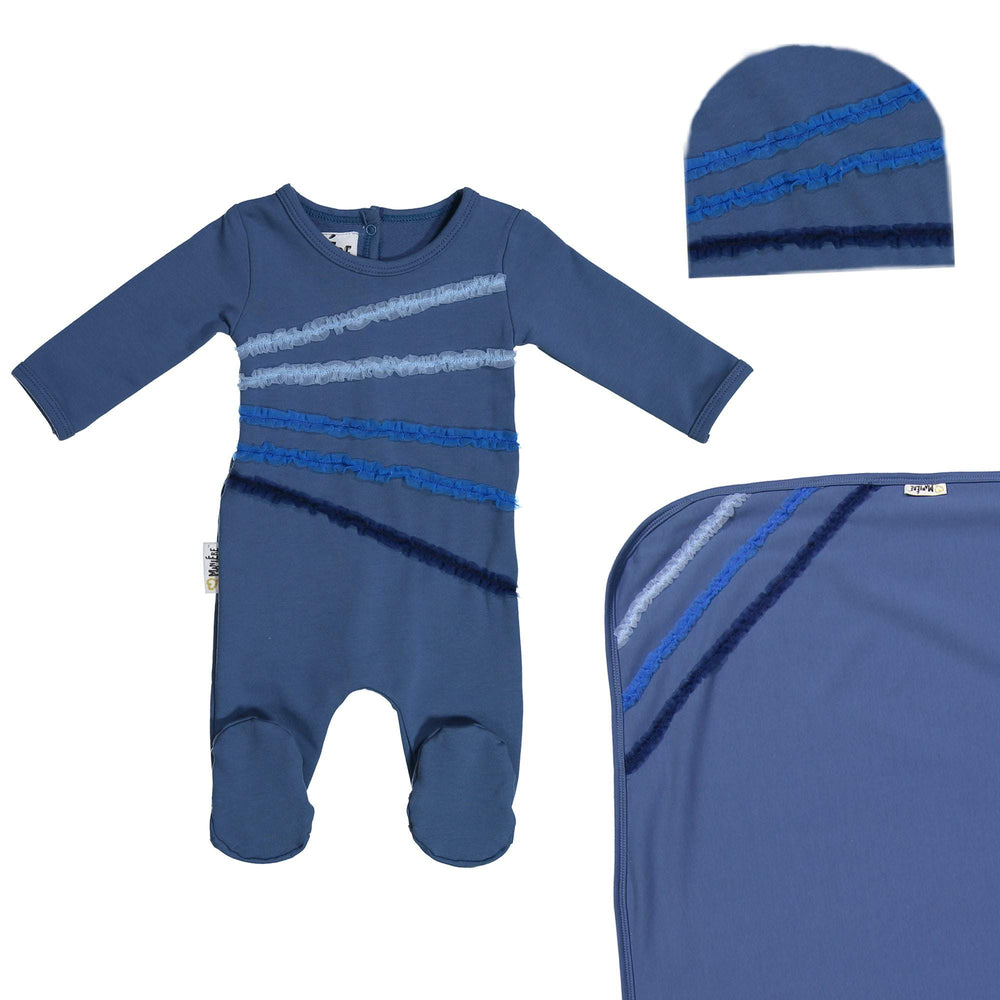 Load image into Gallery viewer, Rainbow Tulle Footie Set Maniere Accessories Blue 3 Month