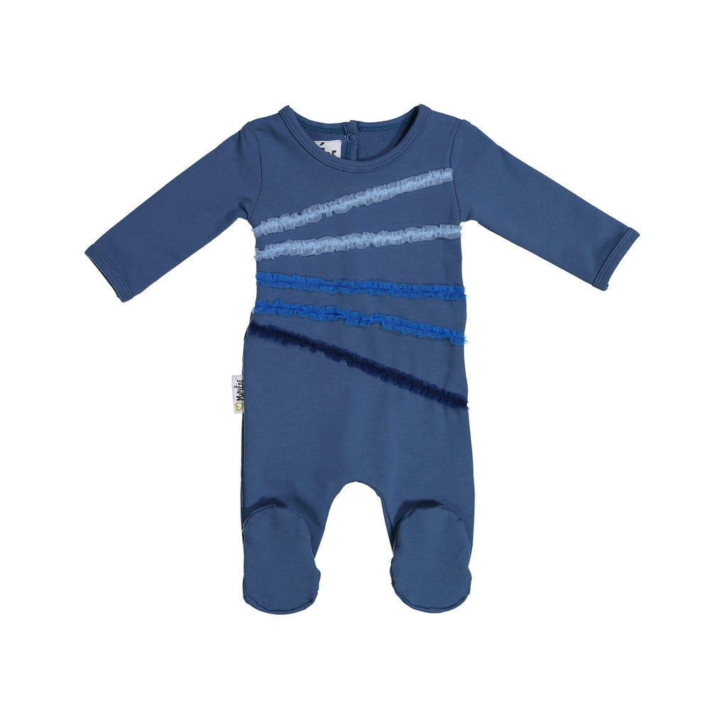Rainbow Tulle Footie Maniere Accessories Blue 6 Month