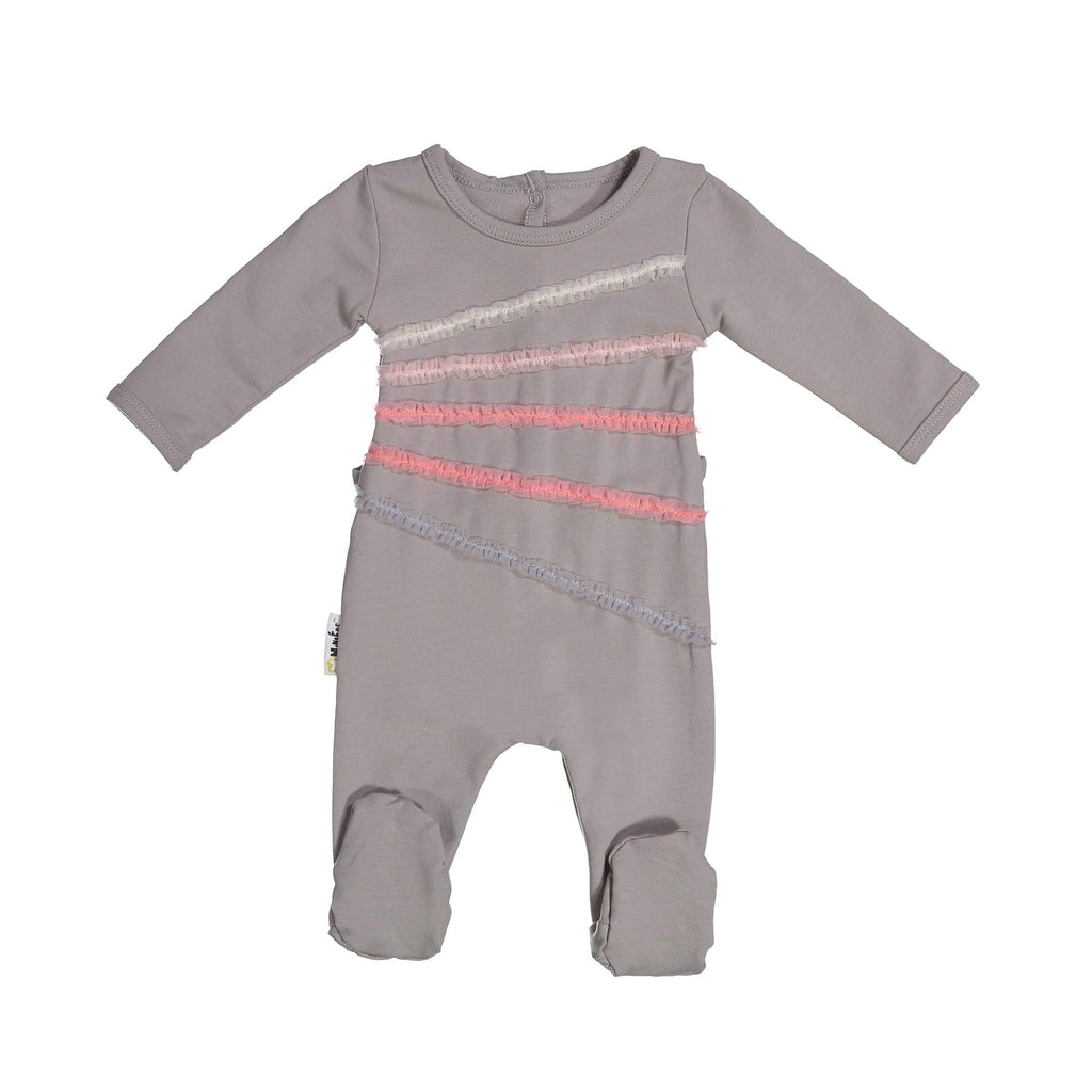 Rainbow Tulle Footie Maniere Accessories Grey 3 Month
